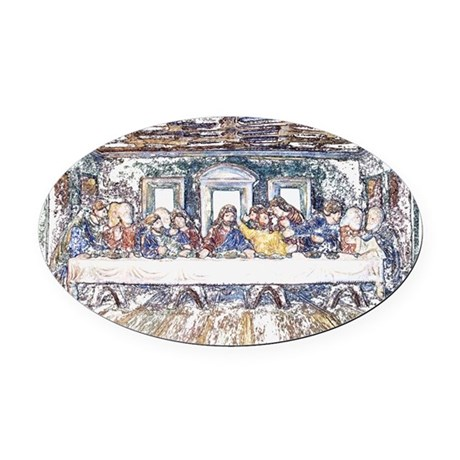 lastsupperpencil2.jpg Oval Car Magnet