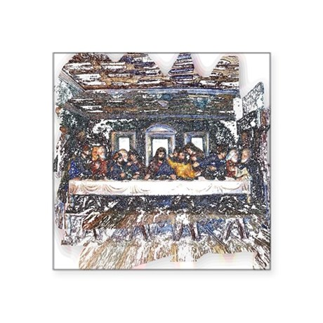 "Last Supper Square Sticker 3"" x 3"""