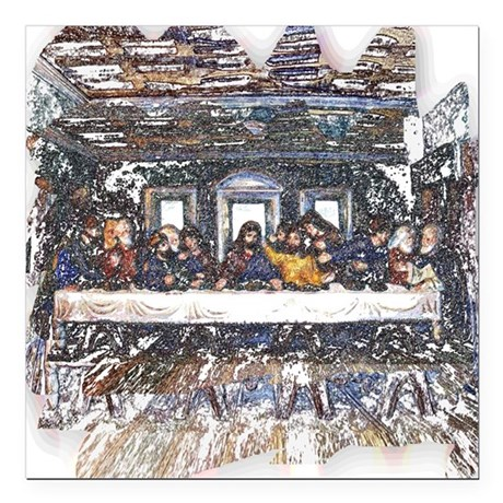 "Last Supper Square Car Magnet 3"" x 3"""