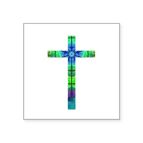 "Cross 013 Square Sticker 3"" x 3"""