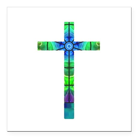 "Cross 013 Square Car Magnet 3"" x 3"""