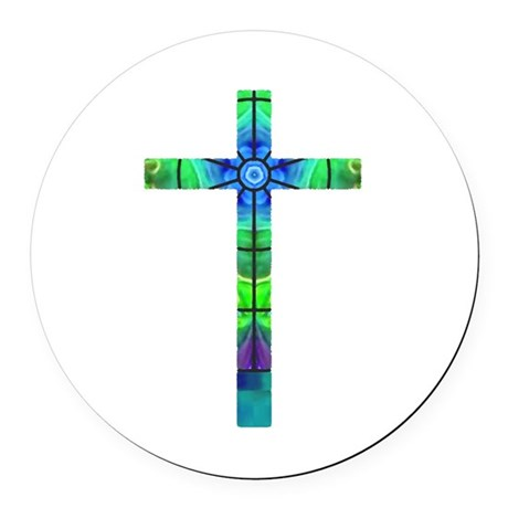 Cross 013 Round Car Magnet