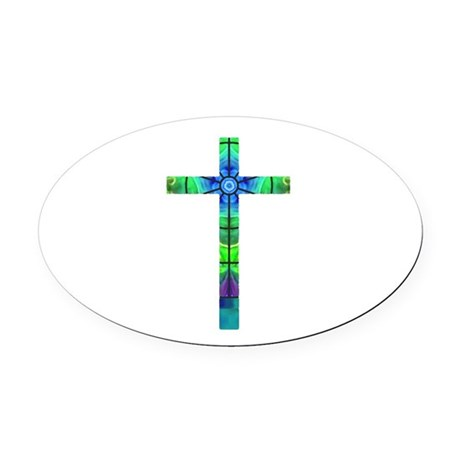 Cross 013 Oval Car Magnet