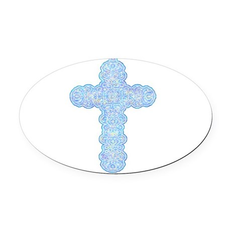 cross28b.png Oval Car Magnet