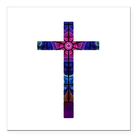 "Cross 012 Square Car Magnet 3"" x 3"""