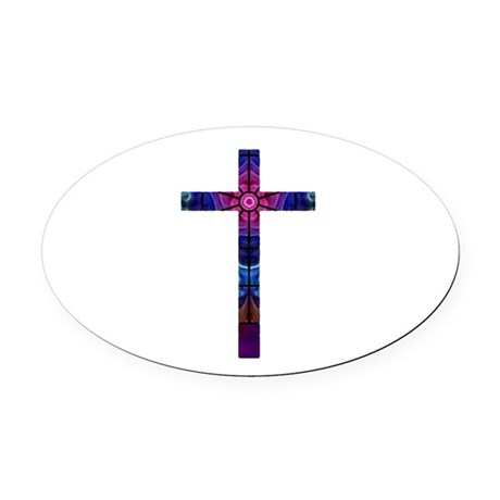 Cross 012 Oval Car Magnet