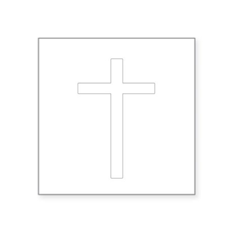 "Cross Square Sticker 3"" x 3"""
