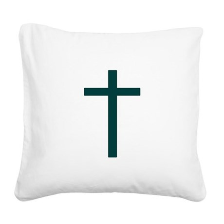 Blue Green Cross Square Canvas Pillow
