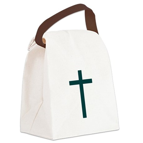 Blue Green Cross Canvas Lunch Bag