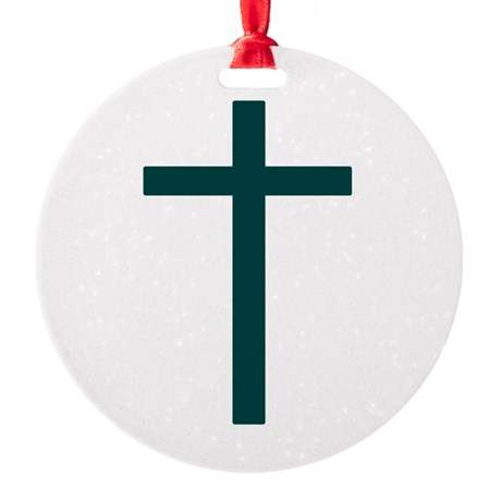 Blue Green Cross Round Ornament