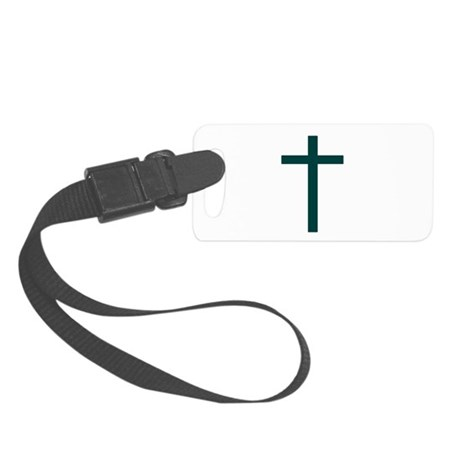 Blue Green Cross Small Luggage Tag