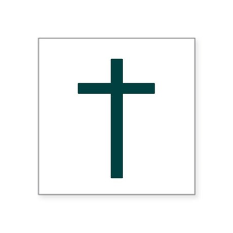 "Blue Green Cross Square Sticker 3"" x 3"""