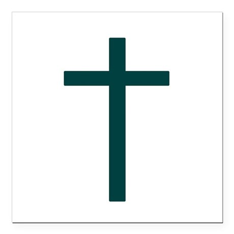 "Blue Green Cross Square Car Magnet 3"" x 3"""