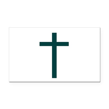 Blue Green Cross Rectangle Car Magnet
