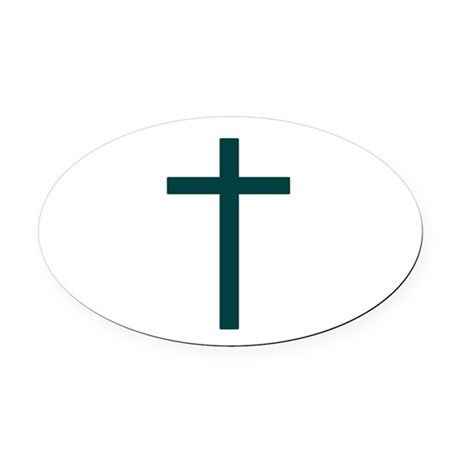 Blue Green Cross Oval Car Magnet