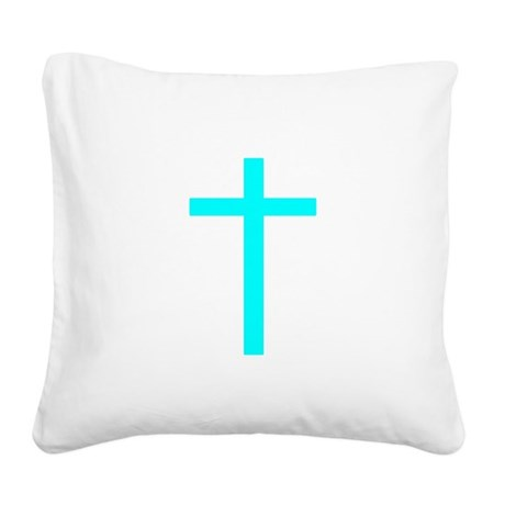 Teal Cross Square Canvas Pillow