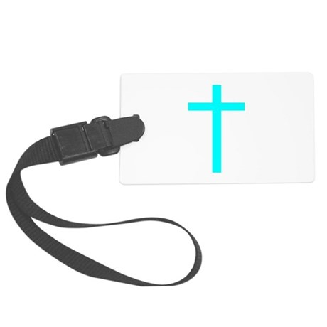 Teal Cross Large Luggage Tag