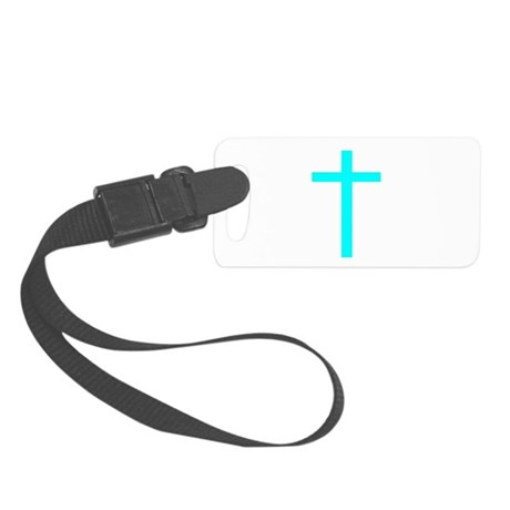 Teal Cross Small Luggage Tag