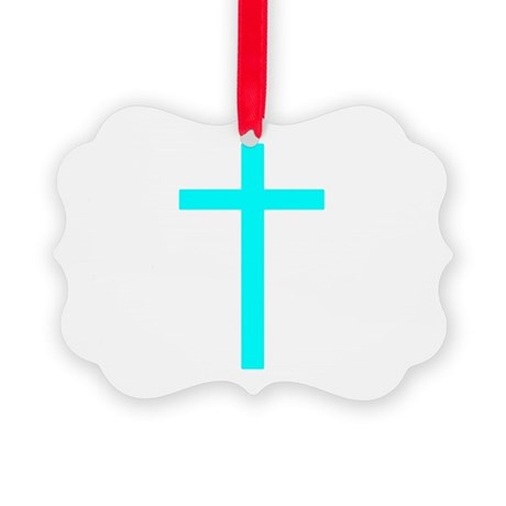 Teal Cross Picture Ornament