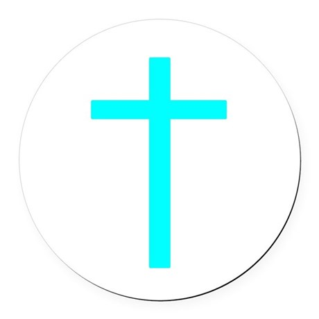 Teal Cross Round Car Magnet