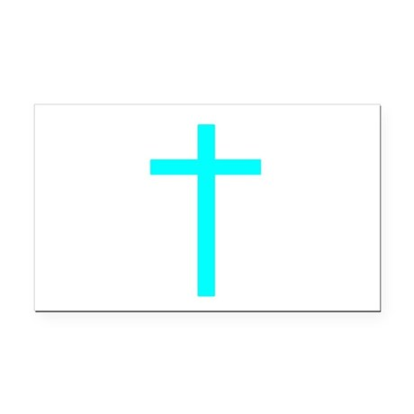Teal Cross Rectangle Car Magnet