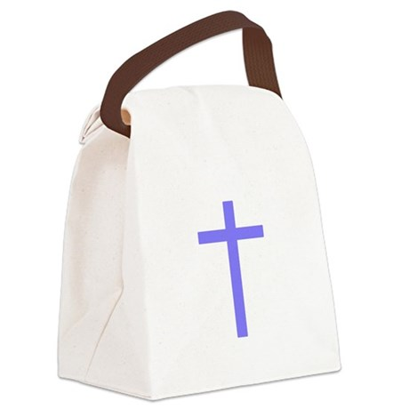 Lilac Cross Canvas Lunch Bag