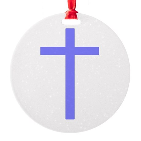 Lilac Cross Round Ornament