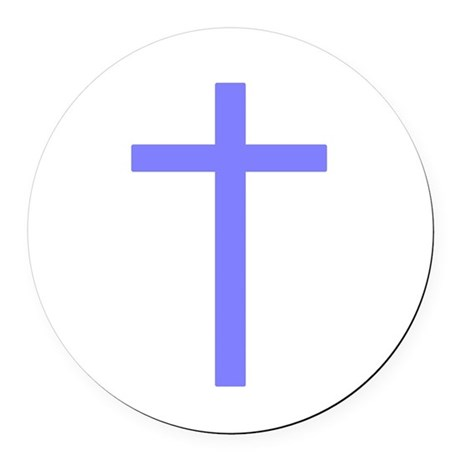 Lilac Cross Round Car Magnet