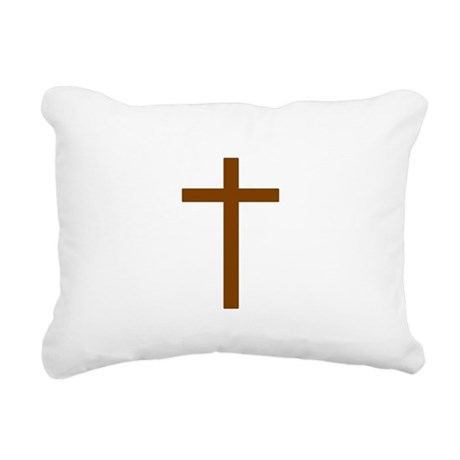 Brown Cross Rectangular Canvas Pillow