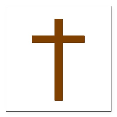 Brown Cross Square Car Magnet 3&quot; x 3&quot;