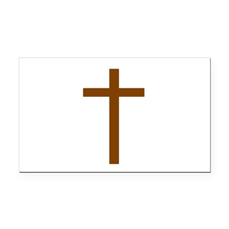 Brown Cross Rectangle Car Magnet