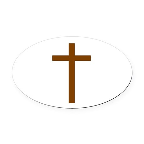 Brown Cross Oval Car Magnet