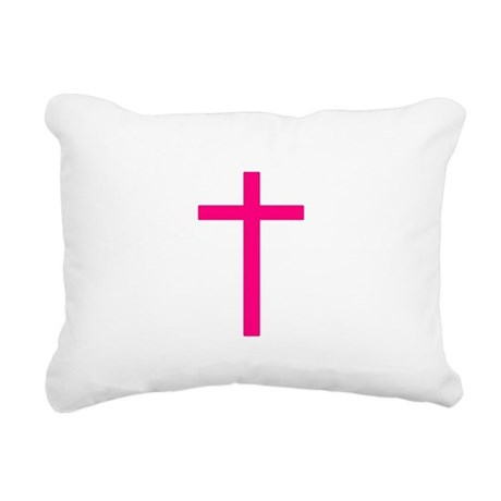 Pink Cross Rectangular Canvas Pillow
