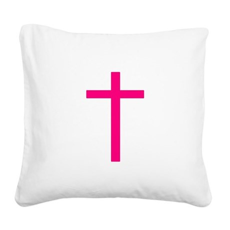 Pink Cross Square Canvas Pillow