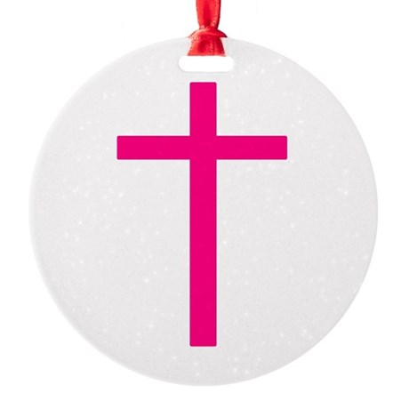 Pink Cross Round Ornament