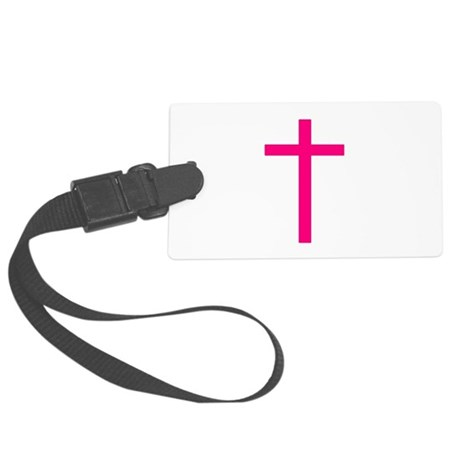 Pink Cross Large Luggage Tag