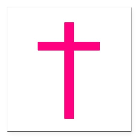 "Pink Cross Square Car Magnet 3"" x 3"""