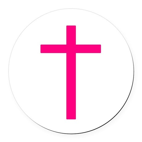 Pink Cross Round Car Magnet