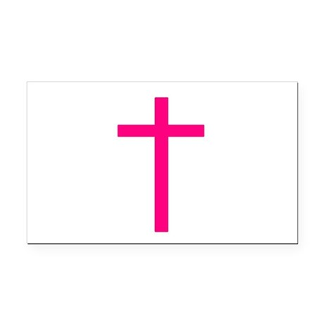 Pink Cross Rectangle Car Magnet