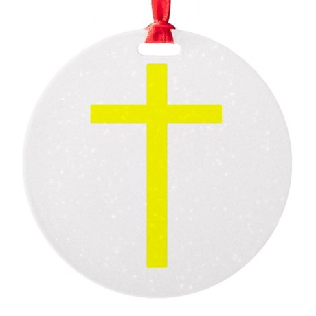 Yellow Cross Round Ornament
