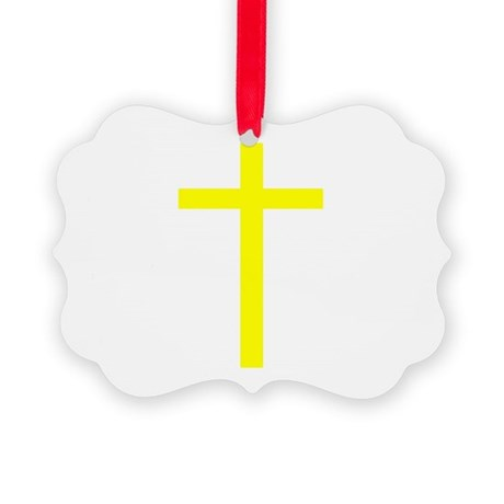 Yellow Cross Picture Ornament