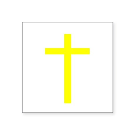 "Yellow Cross Square Sticker 3"" x 3"""