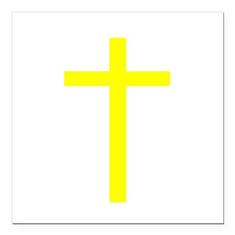 "Yellow Cross Square Car Magnet 3"" x 3"""