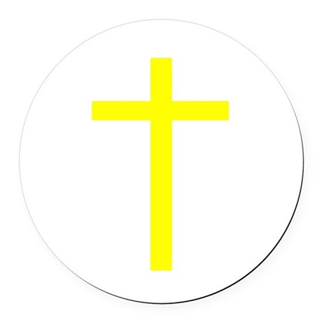 Yellow Cross Round Car Magnet