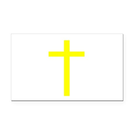 Yellow Cross Rectangle Car Magnet