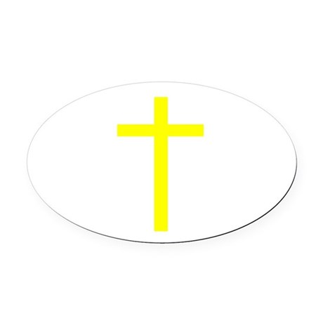 Yellow Cross Oval Car Magnet