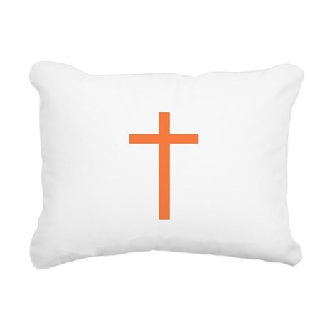 Orange Cross Rectangular Canvas Pillow
