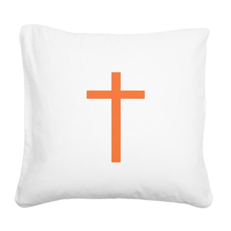 Orange Cross Square Canvas Pillow