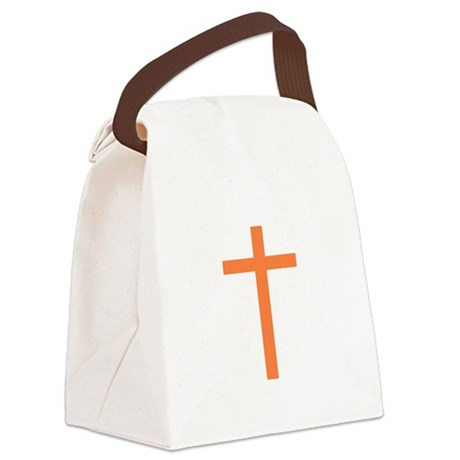 Orange Cross Canvas Lunch Bag