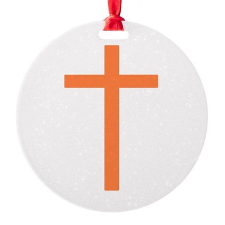 Orange Cross Round Ornament